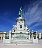 Praca do Comercio, Baixa, het standbeeld van Jose van de Koning, Lissabon Stock Foto