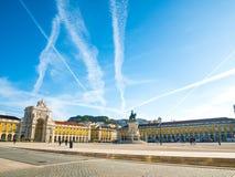 Praca do Comercio binnen de stad in van Lissabon royalty-vrije stock afbeeldingen