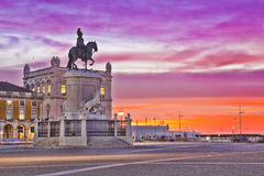 The Praca do Comercio or Commerce Square is located in the city Royalty Free Stock Photo