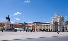 Praca do Comercio in Lisbon Stock Photos