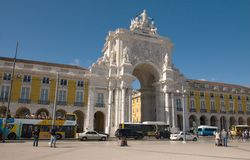 Praca do Comercio in Lisbon - Triumphal arch Stock Photography