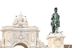 Famous arch at the Praca do Comercio showing Viriatus, Vasco da Royalty Free Stock Photos