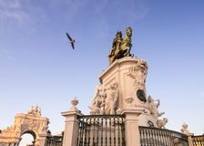Praca do Comercio with the statue of King Jose I in downtown of Stock Images