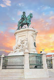 Praca do Comercio and Statue of King Jose I in Lisbon, Portugal Stock Photo
