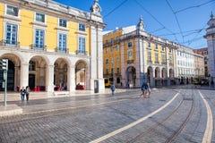 Praca do Comercio van de stad van Lissabon, Portugal Stock Fotografie