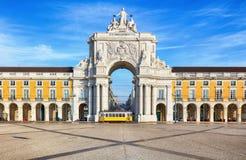 Praca do Comercio with yellow tram, Lisbon, Portugal.  Stock Photography