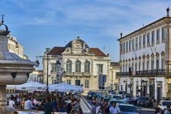 Praca do Giraldo square of Evora, Alentejo. Portugal. Royalty Free Stock Images
