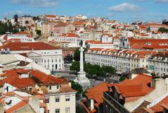 Praca Dom Pedro IV square in city of Lisbon Royalty Free Stock Photo