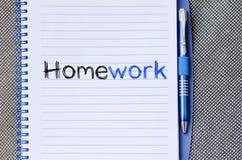 Praca domowa teksta pojęcie na notatniku Obraz Stock