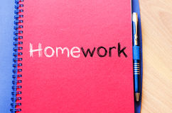 Praca domowa teksta pojęcie na notatniku Obrazy Stock