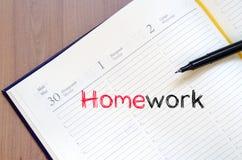Praca domowa teksta pojęcie na notatniku Fotografia Stock