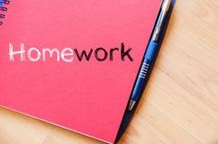 Praca domowa teksta pojęcie na notatniku Zdjęcia Stock