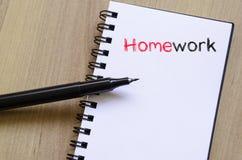 Praca domowa teksta pojęcie na notatniku Fotografia Royalty Free