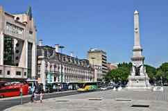 Praca Dos Restauradores a Lisbona, Portogallo fotografia stock libera da diritti