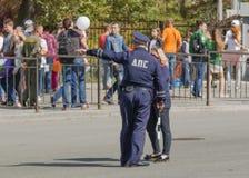 Praca drogowy policjant Fotografia Royalty Free