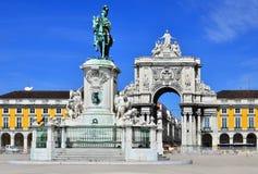 Praca faz Comercio, Lisboa, Portugal fotos de stock royalty free
