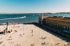 Praca faz Comercio ou quadrado do comércio em Lisboa fotografia de stock