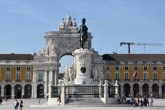 Praca font Comercio à Lisbonne, Portugal photographie stock libre de droits