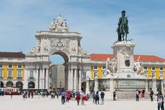 Praca font la place de commerce de Comercio à Lisbonne image libre de droits