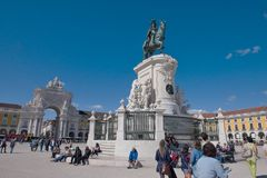 Praca font le comercio à Lisbonne Images stock