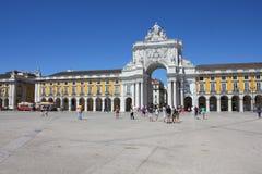 Praca gör Comercio i Lissabon Arkivbild