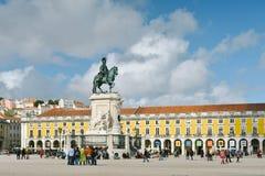 Praca gör Comercio - Lissabon, Portugal arkivfoto