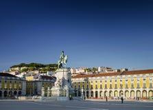 Praca gör den huvudsakliga fyrkanten för comercioen i centrala Lissabon Portugal royaltyfria bilder