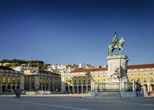 Praca gör den huvudsakliga fyrkanten för comercioen i centrala Lissabon Portugal arkivbild