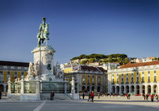 Praca gör den huvudsakliga fyrkanten för comercioen i centrala Lissabon Portugal arkivbilder