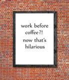 Praca przed kawą pisać w obrazek ramie Obrazy Stock