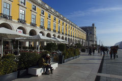 Praca robi Commercio Lisbon Portugalia Fotografia Royalty Free
