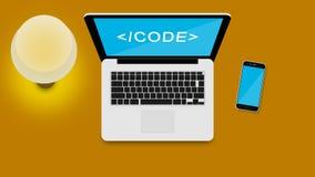 PRACA stół DLA sieć kodera Obraz Stock