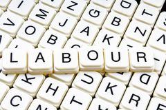 Praca teksta słowa crossword Abecadło list blokuje gemowego tekstury tło Fotografia Stock