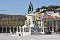 Praca tun Comercio in Lissabon, Portugal stockfotos