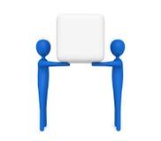 Praca zespołowa: błękitni 3d mężczyzna niesie pustego sześcian, 3d ilustracja Zdjęcie Stock