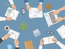 Praca zespołowa, biznesowego spotkania pojęcie Planujący, raporty, korporacyjny zarządzanie Zdjęcie Stock