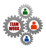 Praca zespołowa i osoba podpisujemy wewnątrz srebnych popielatych gearwheels Zdjęcia Stock