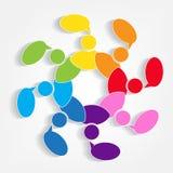 Praca zespołowa komunikuje ludzi spotyka mowa loga konferencyjnego symbol ilustracji