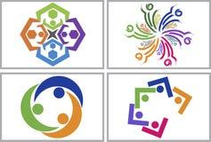Praca zespołowa loga kolekcja ilustracji