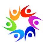Praca zespołowa loga kolorowi różnorodni ludzie Obraz Royalty Free