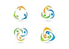 Praca zespołowa, logo, socjalny, edukacja, drużyna, ilustracja, nowożytna, sieć, praca logotypu ustalony wektorowy projekt Fotografia Royalty Free