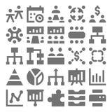 Praca zespołowa, organizacj Wektorowe ikony 2 Obraz Stock