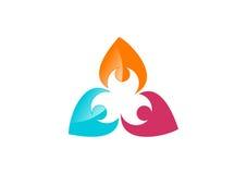 Praca zespołowa, socjalny, drużyna, sieć, logo, projekt, wektor, logotyp, ilustracja Obraz Stock