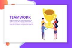 Praca zespołowa, sukces, zwycięstwa drużynowy pojęcie isometric ilustracja wektor