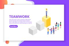 Praca zespołowa, sukces, zwycięstwa drużynowy pojęcie isometric ilustracji