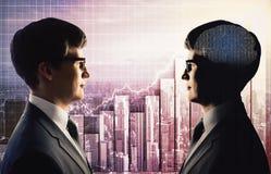 Praca zespołowa, sztuczna inteligencja i biznesu pojęcie, obrazy stock