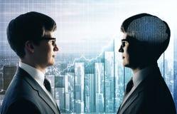 Praca zespołowa, sztuczna inteligencja i sprzedaży pojęcie, obraz stock