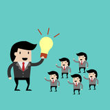 Praca zespołowa z lidera pomysłem kreskówki wektorowa ilustracja dla biznesowego projekta royalty ilustracja
