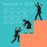 2019 praca zespołowa kalendarz Zdjęcia Stock