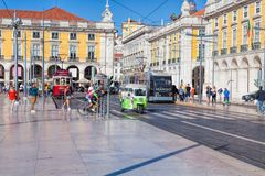 Pracaen gör Comercio av den Lissabon staden, Portugal Royaltyfri Bild